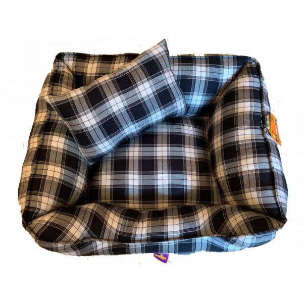 Dog Bed Black white check