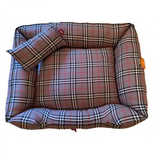 Dog Bed with -cushion burburry design